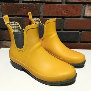 LL Bean Wellies Rain Boots Short  Yellow Orange